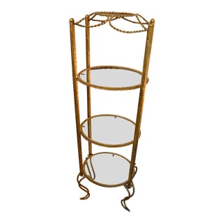 Hollywood Regency Italian Gold Gilt Rope and Tassel 4 Tier Tall Glass Shelf Stand Etagere For Sale