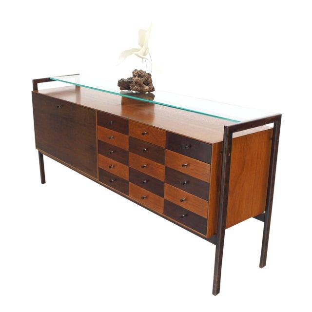 Multi Drawer Drop Front Bar Compartment Glass Shelf Top Long Dresser Checker For Sale