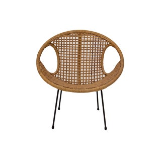 Rattan Child's Chair With Iron Legs For Sale