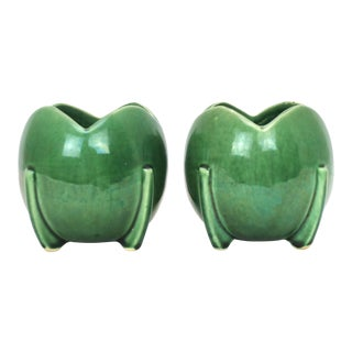 McCoy Green Tulip Ball Shaped Planters - a Pair For Sale