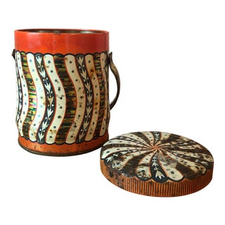 Final Price! Red and Black Vintage Striped Tin With Lid For Sale