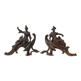 Pair of Louis XV Style Patinated Bronze Figural Andirons For Sale