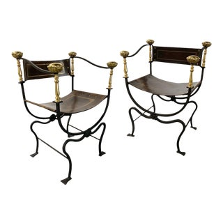 Mid-20th Century Iron, Brass and Leather Savonarola Chairs — a Pair For Sale