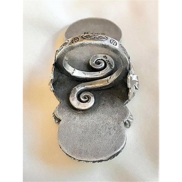 Metal Sterling and Carved Bone Floral Motif Oversized Ring For Sale - Image 7 of 8