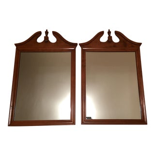 Vintage Ethan Allen by Baumritter, Nutmeg Maple Pediment Wall Mirrors - a Pair For Sale