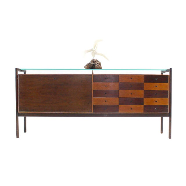 Brown Multi Drawer Drop Front Bar Compartment Glass Shelf Top Long Dresser Checker For Sale - Image 8 of 9