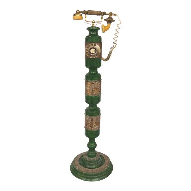 Retro Standing Floor Green Enamel & Brass Column Telephone For Sale