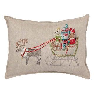 Contemporary Linen Santa's Sleigh Pocket Pillow For Sale