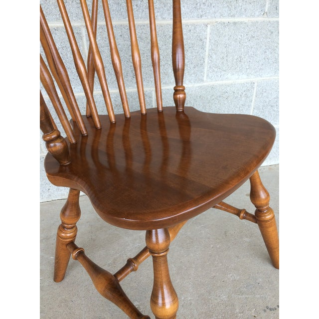 Brown Ethan Allen Windsor Brace Back Nutmeg Side Chairs - Set of 4 For Sale - Image 8 of 11