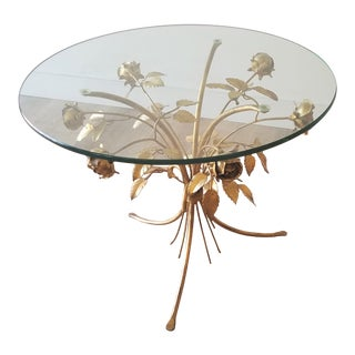 Hans Kögl Hollywood Regency Gilded Metal Rose Side Table For Sale