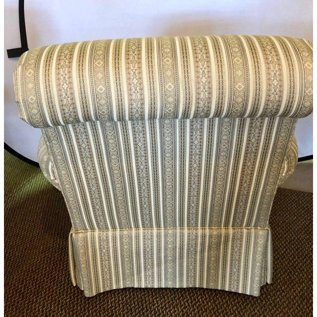 Pair of Hollywood Regency Style Custom Overstuffed Arm/Lounge Chairs Fine Fabric For Sale In New York - Image 6 of 10