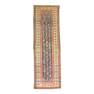 Traditional Antique Navy Blue Runner, 3'1'' X 12'2'' For Sale