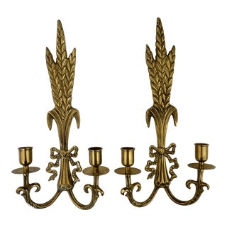 Vintage Brass Sheaf of Wheat Candle Sconces- a Pair For Sale