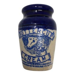 Antique Scottish Buttercup Cream Stoneware Advertising Pot For Sale