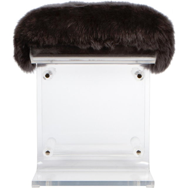 Mid-Century Modern 1980s Lucite & Fur Bench For Sale - Image 3 of 4