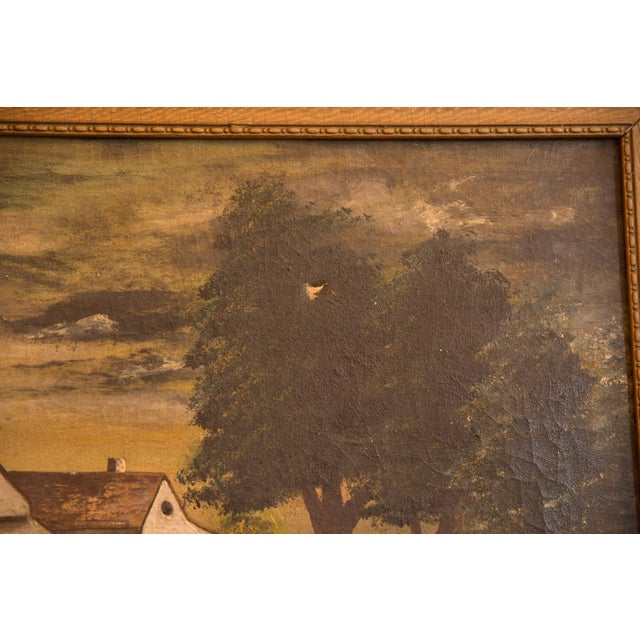 Sheep Grazing Antique Painting For Sale - Image 9 of 11