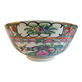 Antique Chinese Famile Rose Medallion Porcelain Serving Bowl For Sale