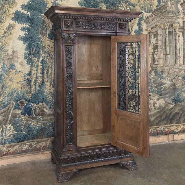 Antique Italian Renaissance Walnut Curio Cabinet For Sale - Image 4 of 13