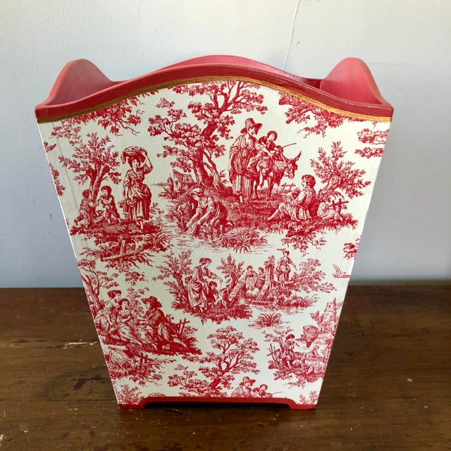 Vintage Pink Toile Wastebasket For Sale In Buffalo - Image 6 of 6