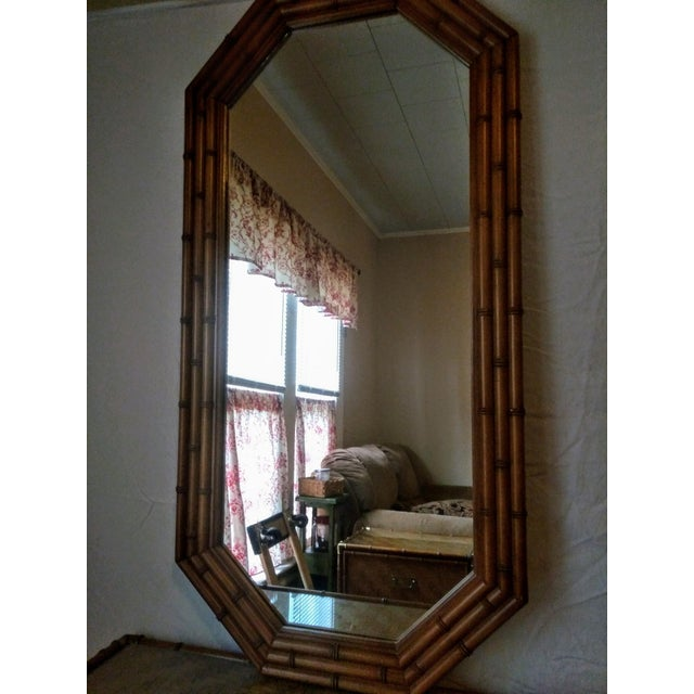 Campaign 1960s Campaign Dixie Furniture Co Faux Bamboo & Woven Wicker Dresser and Mirror Set - 3 Pieces For Sale - Image 3 of 11