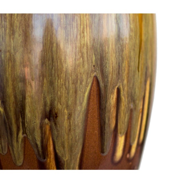 Brown Ceramic Drip Glaze Table Lamp For Sale - Image 4 of 7