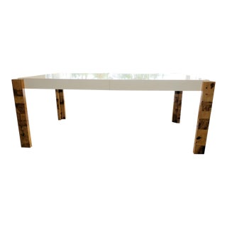 Mid-Century Modern Lacquered and Burl Wood Dining Table For Sale