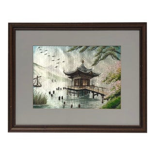Early 20th Century Chinese Silk Embroidered Pagoda Scene For Sale