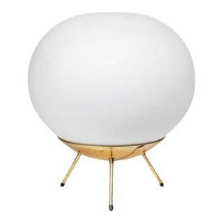 1960s Large Glass & Brass Tripod Floor or Table Lamp Attributed to Stilnovo For Sale