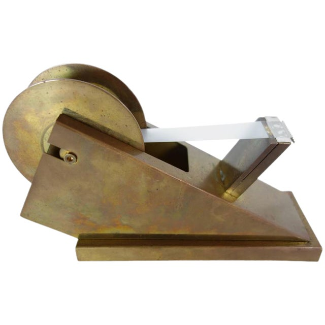 Modernist Brass Tape Dispenser For Sale