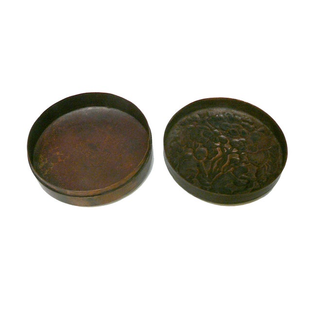Asian Chinese Metal Bronze Trinket Box For Sale - Image 3 of 5