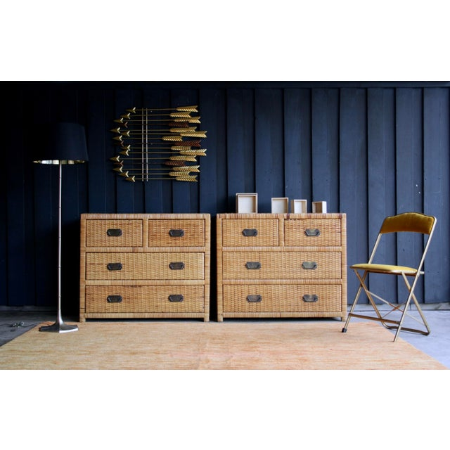 1960s Lacquered Rattan Bachelor Chest (Pair Available) For Sale - Image 5 of 13