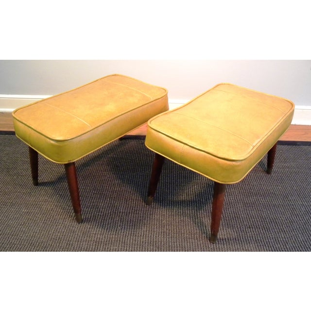 Vintage Mid-Century Gold Ottoman Footrests - Pair - Image 6 of 8