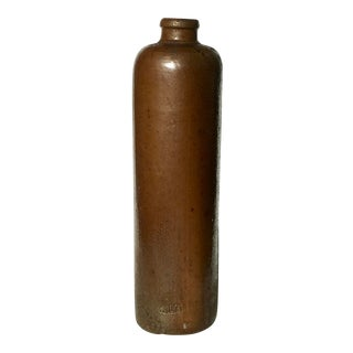 Vintage Boho Chic Brown Ceramic Vase For Sale