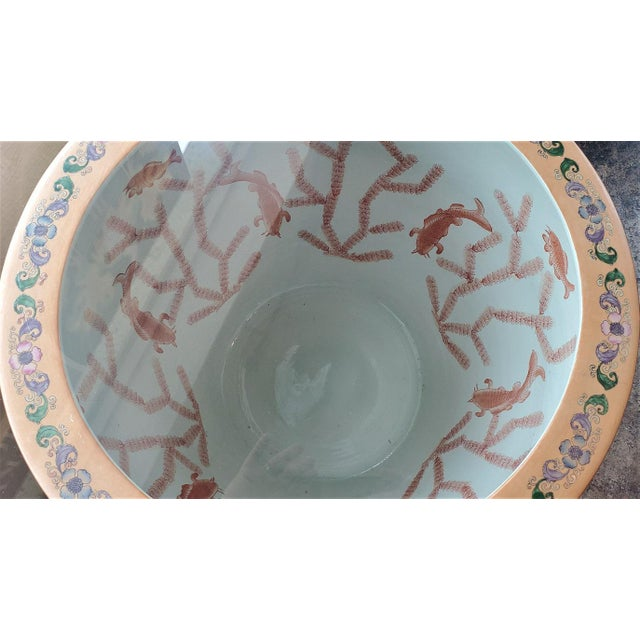 Wood Large Chinese Fish Bowl Side Table With Stand For Sale - Image 7 of 13
