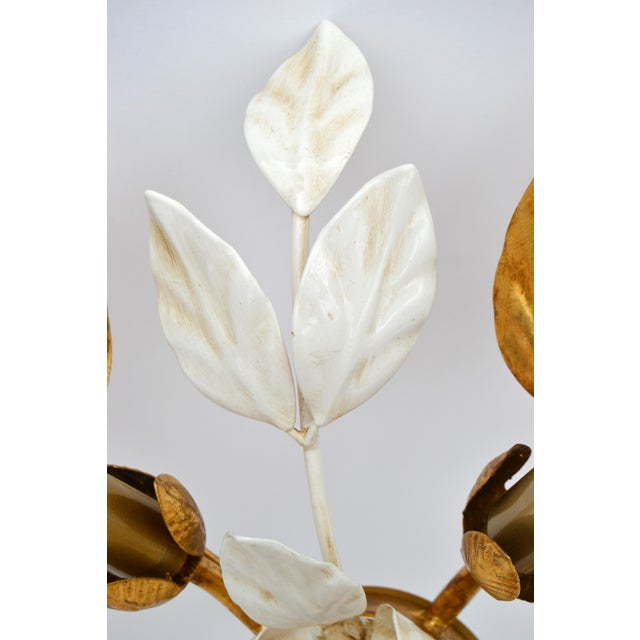 Willy Daro Style Belgium Brass & Enamel Flower Flush Mount in Gold White Finish For Sale In Miami - Image 6 of 10