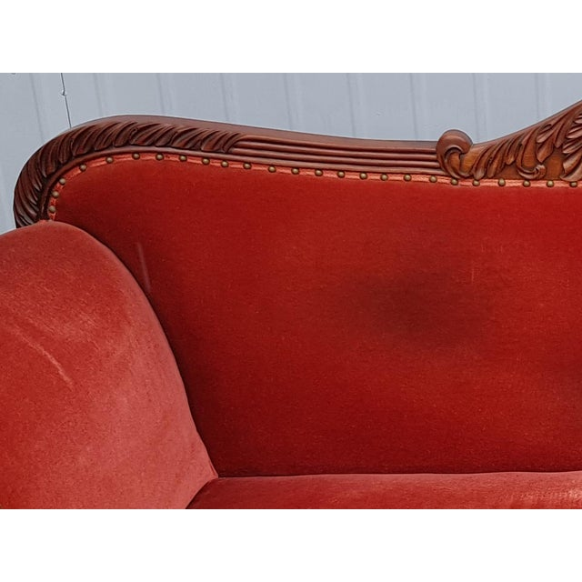 Textile Antique French Cherry Massive Empire Red Velvet Upholstery Sofa Canape For Sale - Image 7 of 12