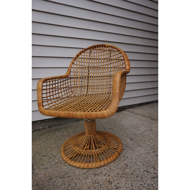 Italian Franco Albini Era Bamboo Swivel Chair For Sale - Image 3 of 11