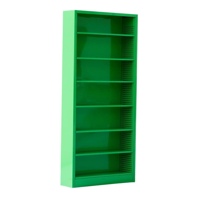 1970s Tall Steel Tanker Bookcase, Refinished in Lime Green, Custom Order For Sale