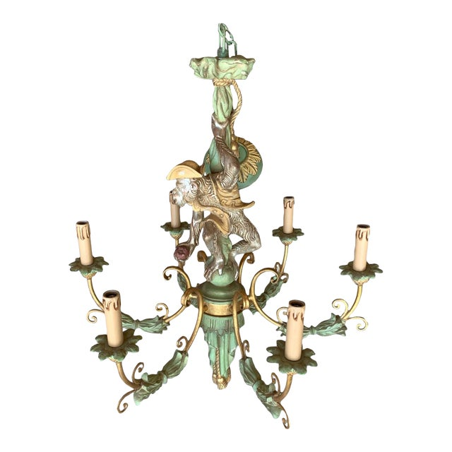 Vintage Monkey Carved Wood Chandelier For Sale