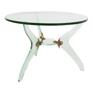Italian Glass & Bronze Coffee Table For Sale