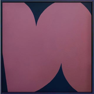 Contemporary Abstract Graphic Pink and Blue Painting by Brooks Burns, Framed For Sale