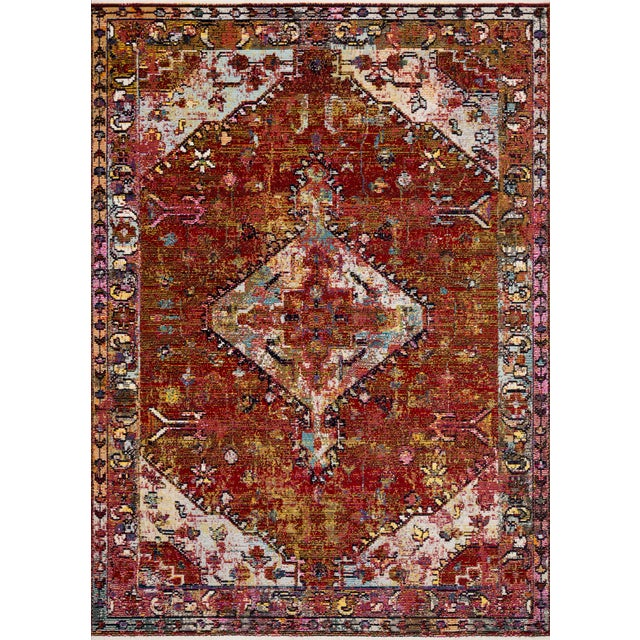 """Loloi Rugs Silvia Rug, Red / Multi - 1'6""""x1'6"""" For Sale"""