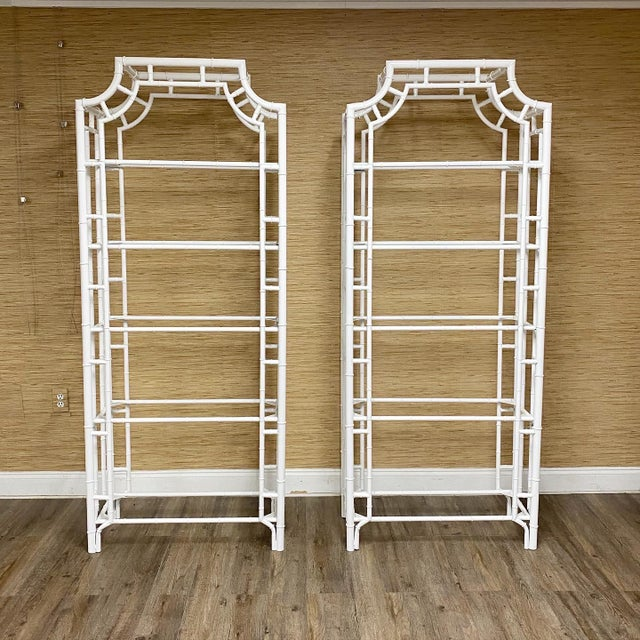 Metal Refinished Vintage Faux Bamboo Pagoda Chinese Chippendale Etageres - a Pair For Sale - Image 7 of 7