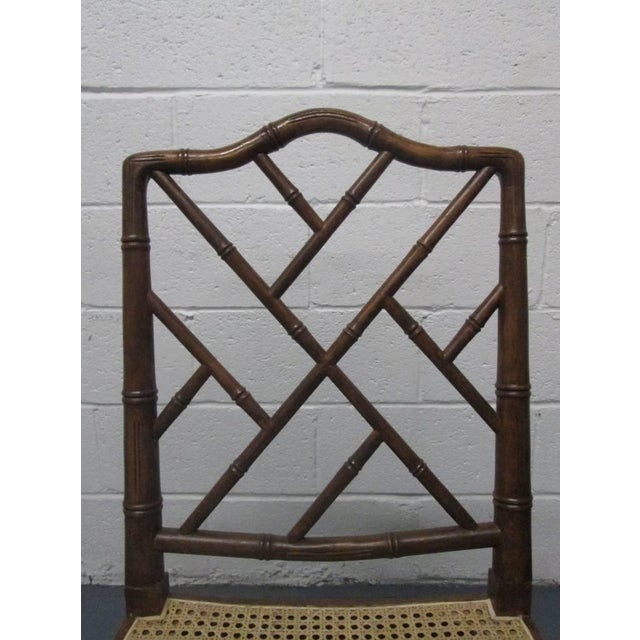 Wood 4 Faux Bamboo Chinese Chippendale Style Chairs For Sale - Image 7 of 8