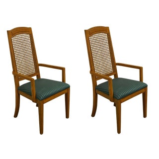 Late 20th Century Thomasville Furniture New Country Collection Cane Back Dining Arm Chairs- A Pair For Sale