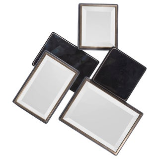 Mondrian Mirror S in Black Shagreen Shell and Bronze-Patina Brass by Kifu Paris For Sale
