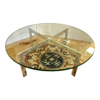 Mid Century Round Glass and Chrome Coffee Table For Sale