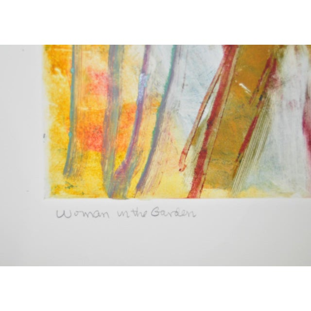 """Arthur Krakower """"Woman in the Garden"""" Monotype Painting For Sale - Image 4 of 5"""