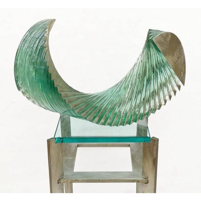 Early 21st Century 20th Century Christopher Lee Glass and Steel Sculpture on Custom Glass Pedestal For Sale - Image 5 of 6
