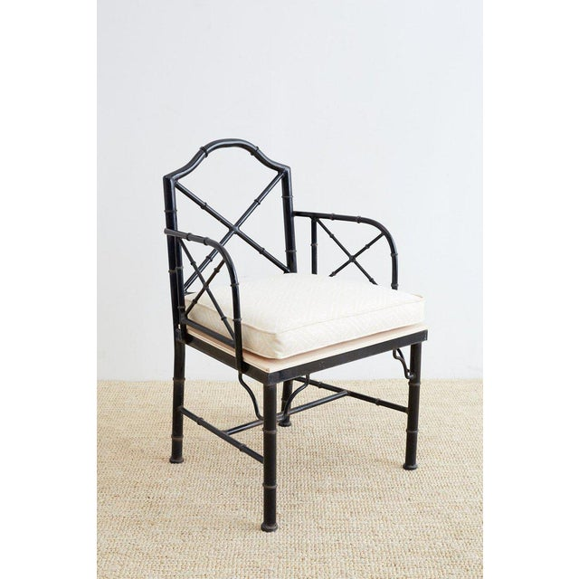 Asian Chinese Chippendale Faux Bamboo Iron Garden Chairs For Sale - Image 3 of 13